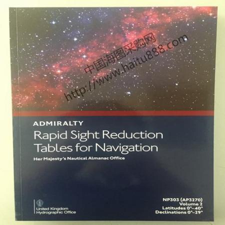 NP303-2 RAPID SIGHT REDUCTION TABLES FOR NAVIGATION VOL 2